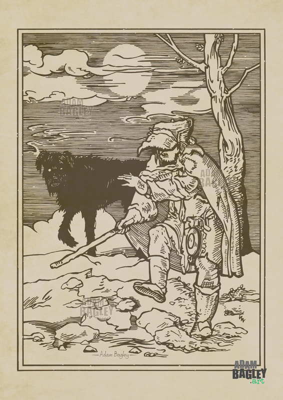 This image depicts an illustration by West Midlands artist Adam Bagley titled Beast of the Moors. It is based on a medieval woodcut print from the Danse Macabre, or Dance of Death, by Hans Holbein the Younger