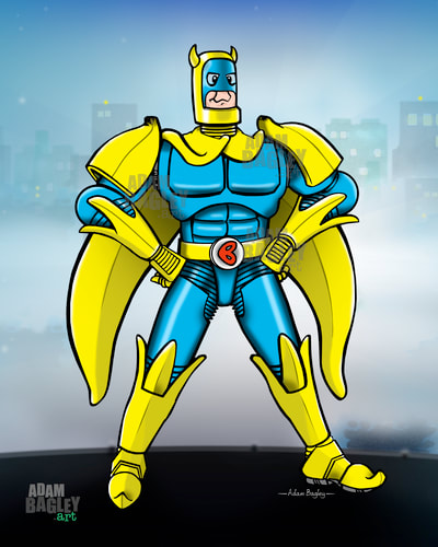 This picture is of popular British comic book superhero Bananaman in Banana themed power armour. An illustration by artist Adam Bagley, the suit is an original concept design created by artist Adam Bagley. Bananaman once featured in Nutty and The Dandy comics and now appears in The Beano comic published by DC Thompson & Co.