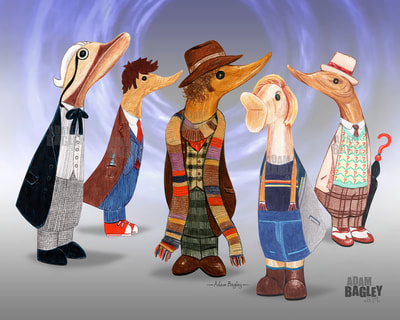 This image is of a coloured pencil crayon illustration by artist Adam Bagley. It shows a mash-up of popular collectable DCUK wooden ornament ducks and five doctors from BBC television series Doctor Who. The duckling characters from left to right are the first, tenth, fourth, thirteenth, and seventh doctors portrayed by William Hartnell, David Tennant, Tom Baker, Jodie Whittaker, and Sylvester McCoy respectively.