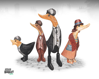 This image shows a colour pencil crayon illustration by artist Adam Bagley. The art depicts a mash-up of popular collectable DCUK wood ornament ducks and four duckling characters inspired by Birmingham based BBC television series Peaky Blinders.