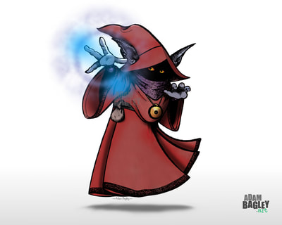 This is a picture of a pen and ink illustration by artist Adam Bagley of Adam Bagley Art. It depicts Orko the Wizard from classic 1980s kids cartoon series He-Man and The Masters of the Universe and She-Ra Princess of Power.