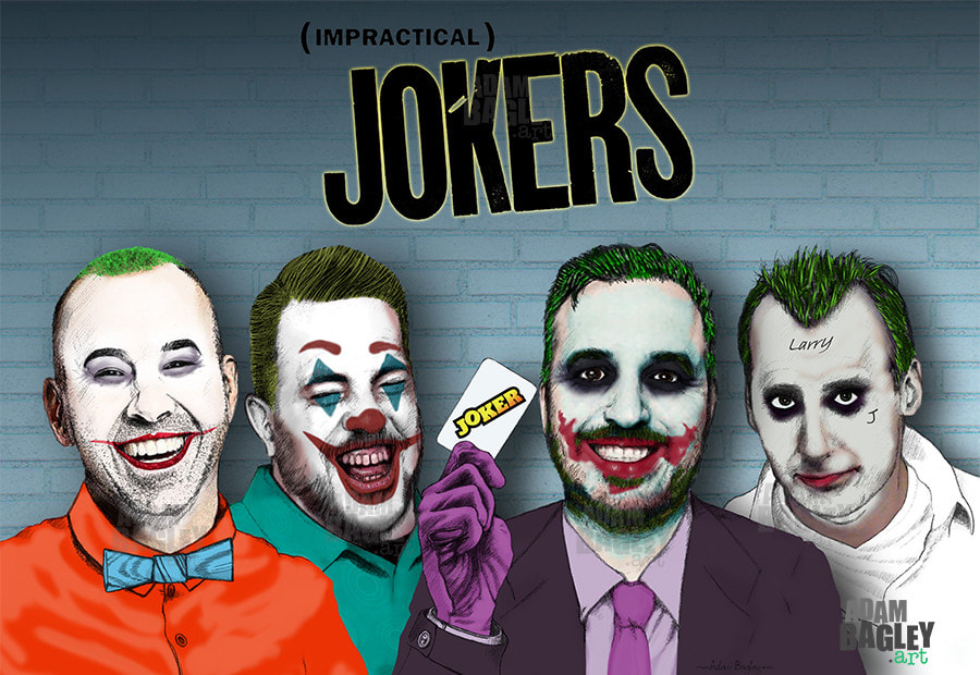"This image depicts an illustration of truTV's Impractical Jokers as movie versions of Batman nemesis The Joker of DC Comics. By artist Adam Bagley, it shows James ""Murr"" Murray, Salvatore ""Sal"" Vulcano, Brian ""Q"" Quinn, and Joseph ""Joe"" Gatto."