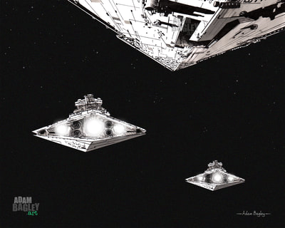 This image is of a detailed illustration of a fleet of three Star Destroyers from the Star Wars saga. This Destroyer artwork was created by artist Adam Bagley of Adam Bagley Art.