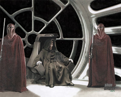 This image is of a detailed illustration depicting Emperor Palpatine and Royal Emperor's Guard in the Death Star Throne Room. This Star Wars artwork was created by illustration artist Adam Bagley.