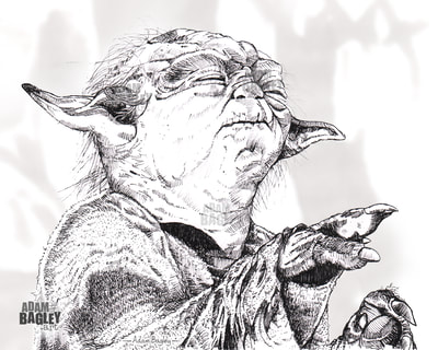 This image is of a fine illustration of Jedi Master Yoda from the Star Wars saga. Based on the planet Dagobah, this Empire Strikes Back inspired artwork was created by artist Adam Bagley of Adam Bagley Art.