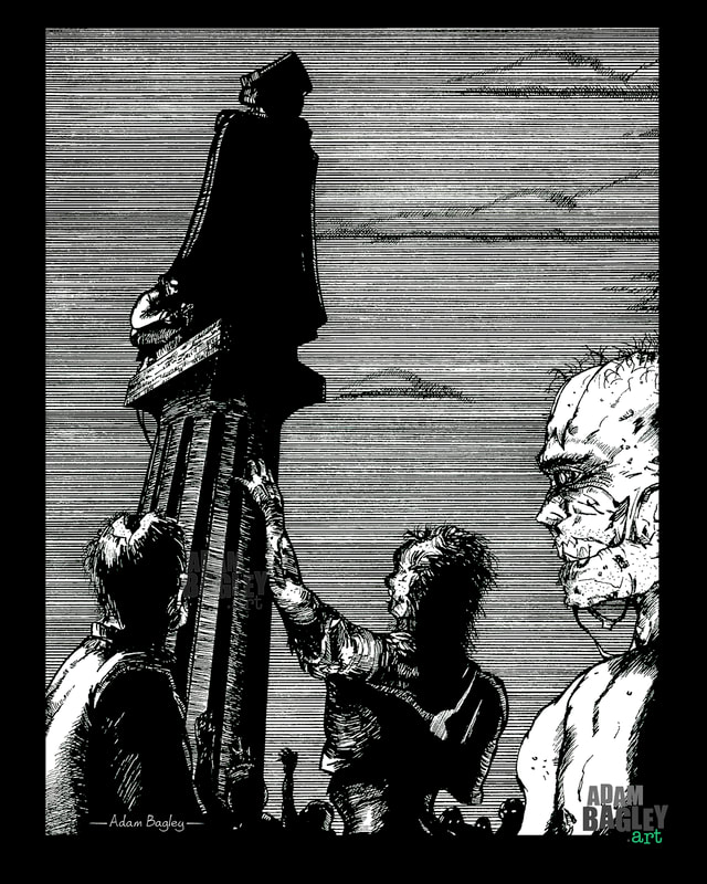 This black and white image is of fine grade zombie-themed comic book artwork by artist Adam Bagley
