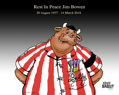 Picture illustration of tribute to late TV personality Jim Bowen, comedian and presenter of popular ITV darts game show Bullseye.  Drawn by Adam Bagley Art, the image depicts Bullseye's cartoon bull mascot Bully tearfully in mourning.
