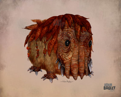 Picture of Brian Froud inspired character design artwork for upcoming Netflix TV series The Dark Crystal: Age of Resistance by The Jim Henson Company of Muppets fame. Illustration and painting by West Midlands UK artist Adam Bagley Art is one of several creature concept images submitted.