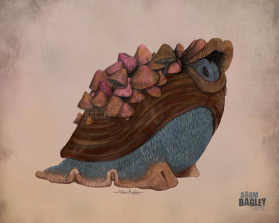 Picture of snail-like character design artwork for upcoming Netflix fantasy TV series The Dark Crystal: Age of Resistance by The Jim Henson Company. Illustration and painting by Adam Bagley Art is one of several creature concept images submitted, inspired by the Garthim and productions such as Labyrinth, Fraggle Rock, and Henson's The Storyteller.