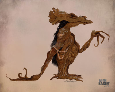 Picture of character design artwork for TV series The Dark Crystal: Age of Resistance by The Jim Henson Company and Netflix. Painting shows illustration by Adam Bagley Art and is one of several creature concept images submit. Inspired by the Gelflings.